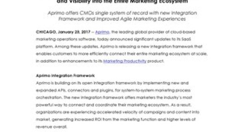 Aprimo Announces Updated SaaS Platform for Full Connectivity and Visibility into the Entire Marketing Ecosystem