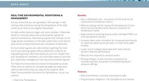 Nlyte Environmentals Connector SynapSense Data Sheet