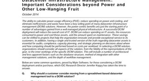 IDC Analyst Connection: Important Considerations Beyond PUE Calculations and Other Low Hanging Fruit