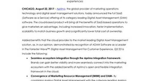 Aprimo Launches SaaS Version of Category-Leading Digital Asset Management Solution