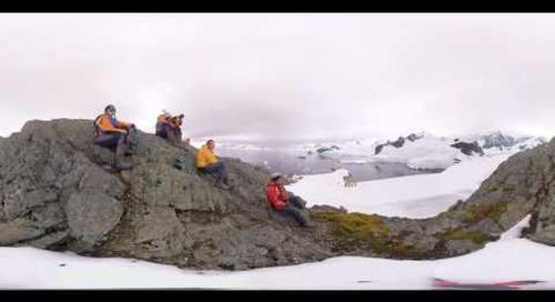 Historian Damien Sanders talks about Base Brown at Paradise Bay, Antarctica (360° VR)