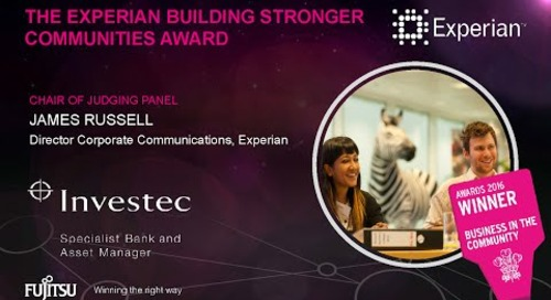 The Experian Building Stronger Communities Award - Investec - Judges Comments