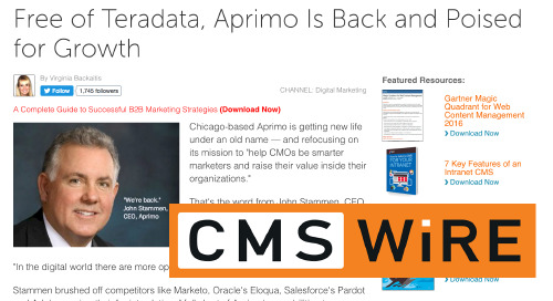 Free of Teradata, Aprimo Is Back and Poised for Growth [CMS Wire]