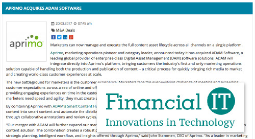 Aprimo Acquires ADAM Software [Financial IT]