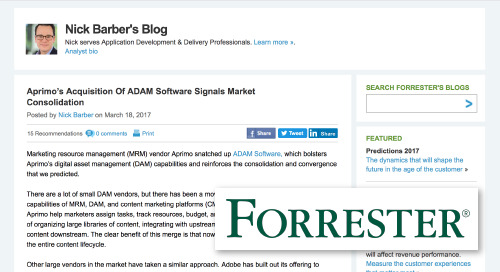 Aprimo's Acquisition Of ADAM Software Signals Market Consolidation [Forrester]