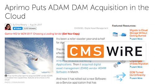 Aprimo Puts ADAM DAM Acquisition in the Cloud [CMS Wire]