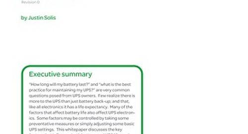 WP 210 - Single Phase UPS Management, Maintenance, and Lifecycle