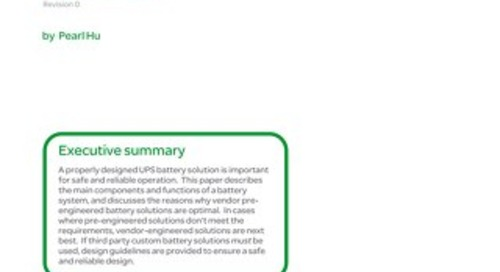 WP 207 - Design and Specification for Safe and Reliable Battery Systems for Large UPS