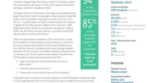 Crater Lake Charter Academy Academic Results