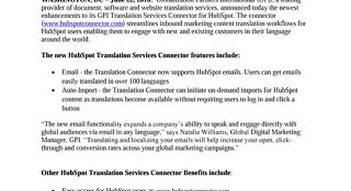GPI Adds Features to HubSpot Translation Connector