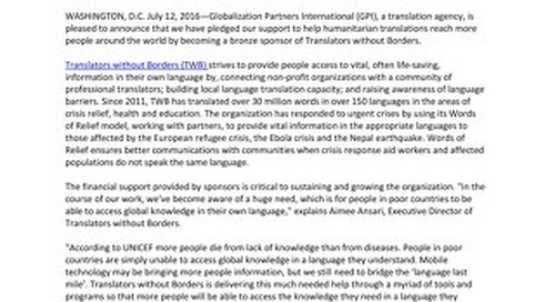 GPI Sponsors Translators without Borders