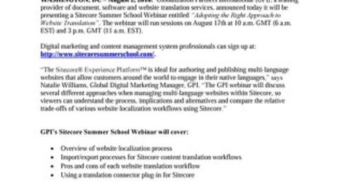 GPI to Present Webinar for Sitecore Summer School