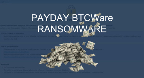 New Payday BTCware Ransomware Variant Released