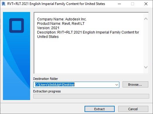 Autodesk Content Extract Dialog Box