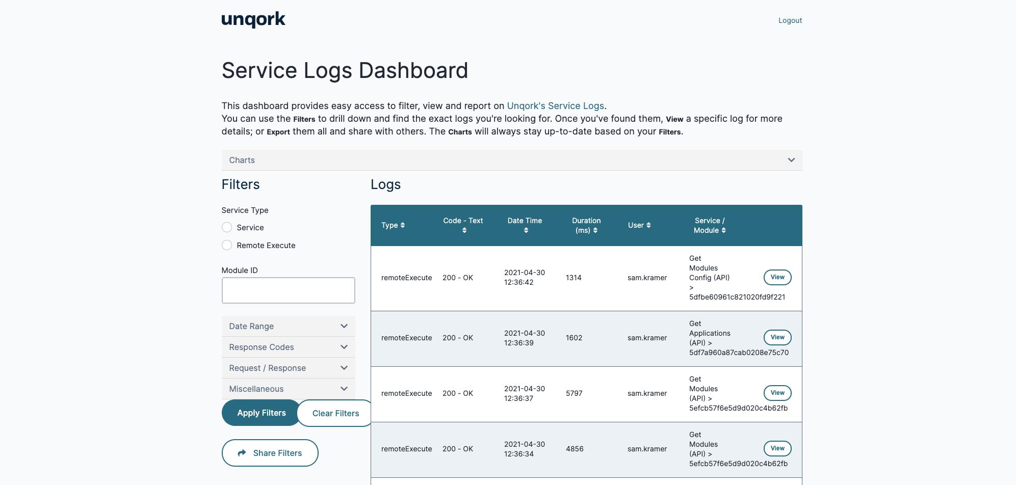 Service Logs Dashboard