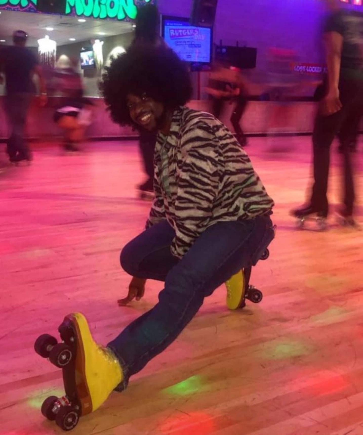 Kevin wearing roller skates