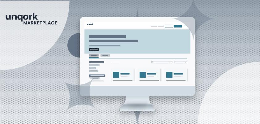 Graphic of Unqork Marketplace on desktop