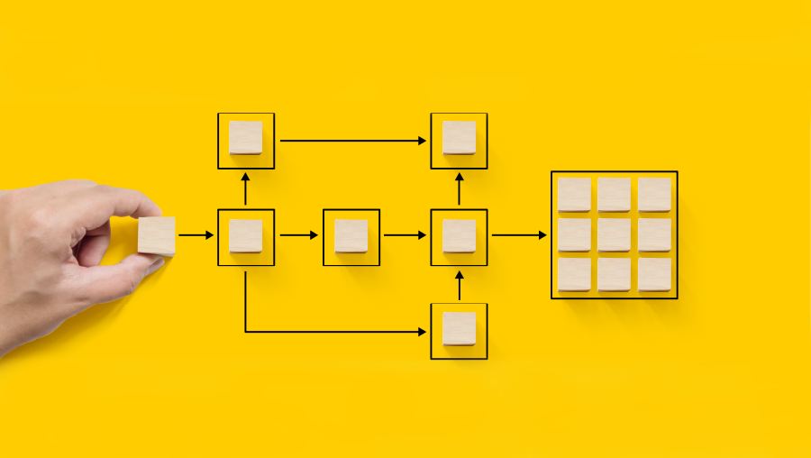 Hand holding wooden cube block arranging processing management on yellow background