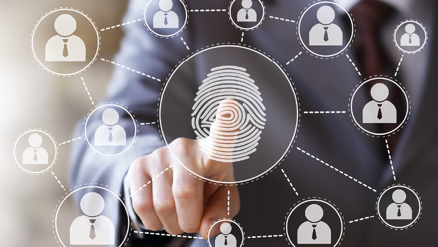 Businessman pressing button with fingerprint