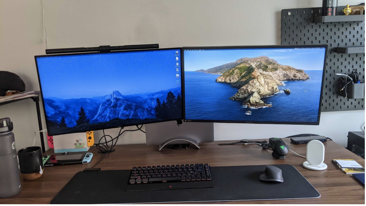 Mika's home office setup with two desktops