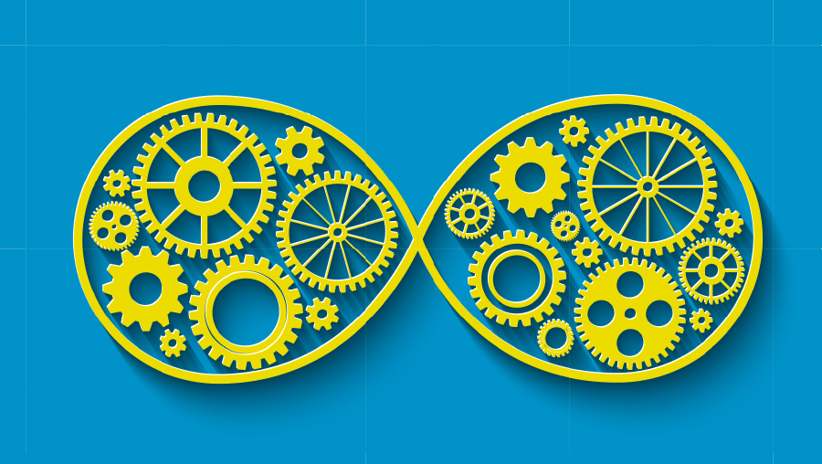 Vector image of gears inside an infinity symbol