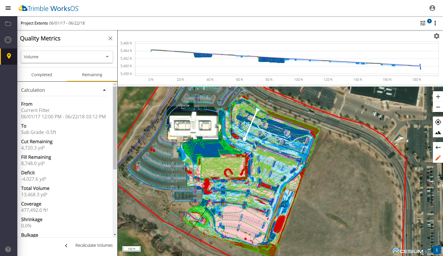 Trimble Construction Software, WorksOS, In-progress cut-fill and grade monitoring