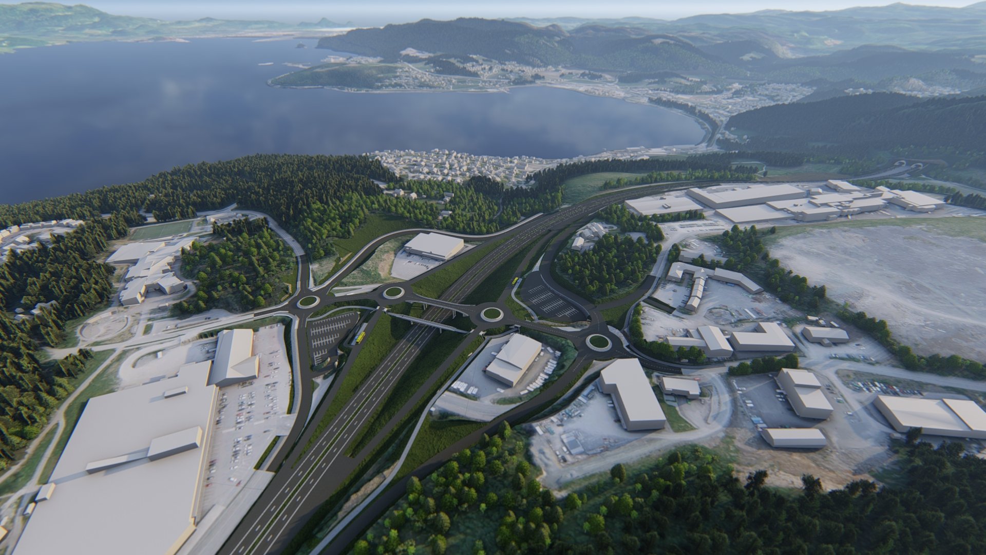 How the new E6 highway by Sveberg outside of Trondheim will look after construction is completed.