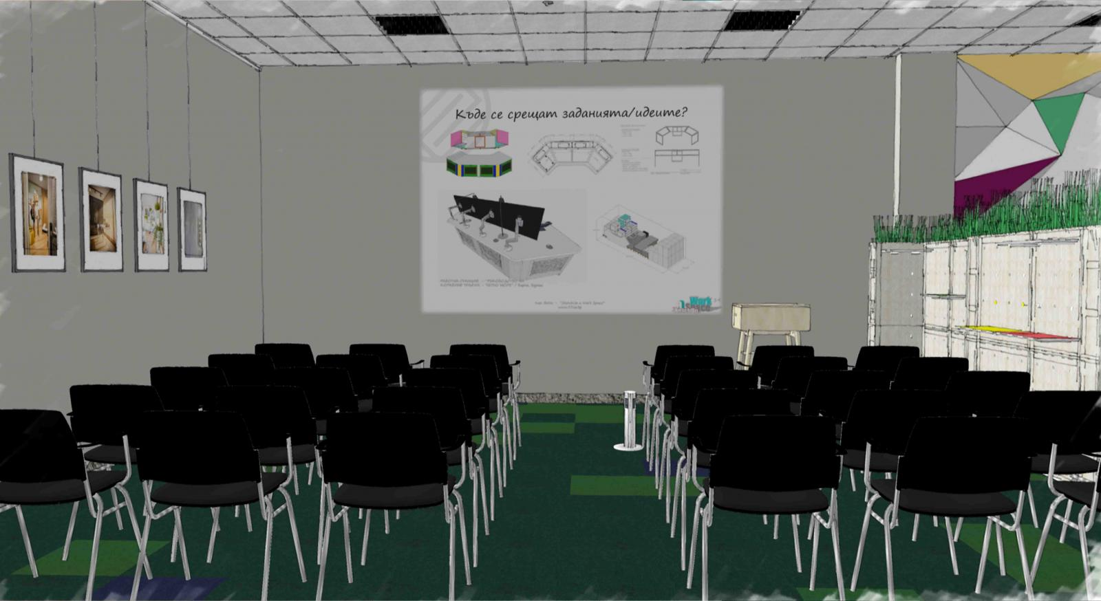 SketchUp renderings of a workplace interior designed by 3DEA