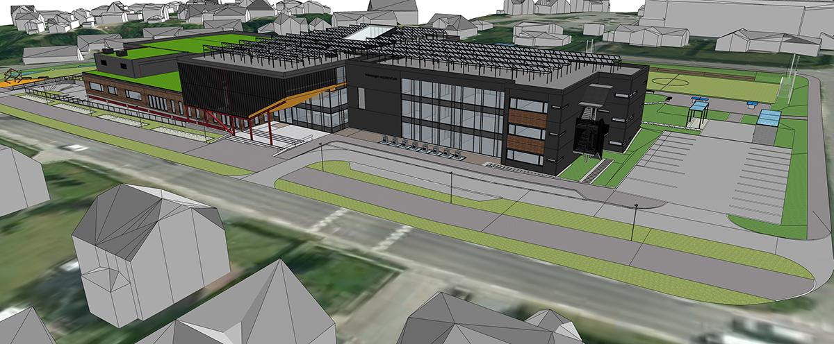 SketchUp model of Veiavangen Middle School, Mjøndalen, Norway