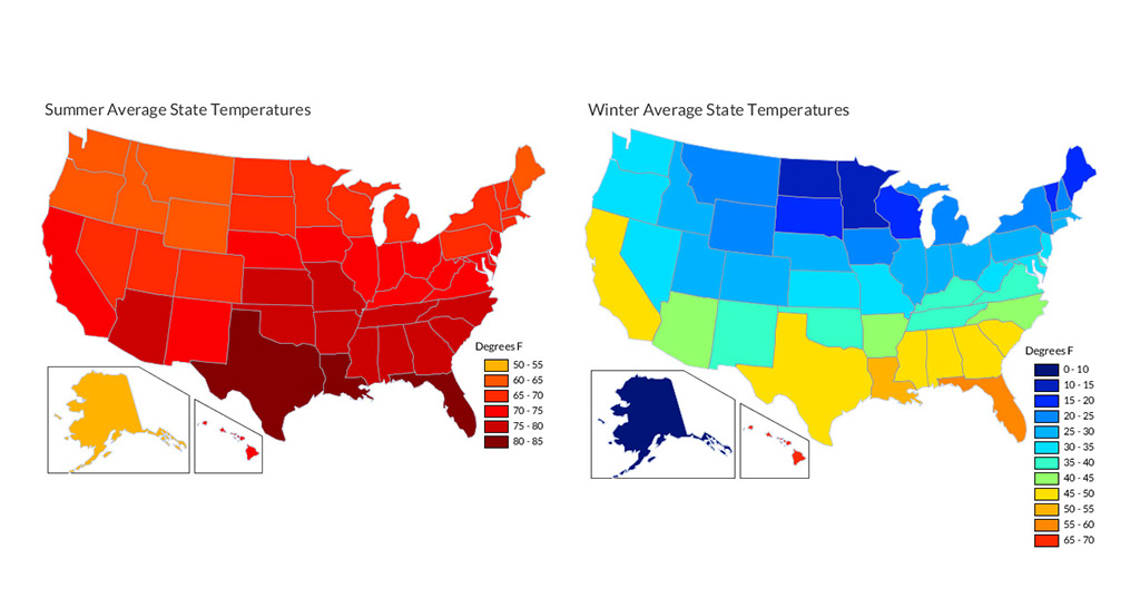 Average state summer and winter temperatures