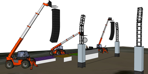 Forklift and PA visualizations at DJ Fisher Show