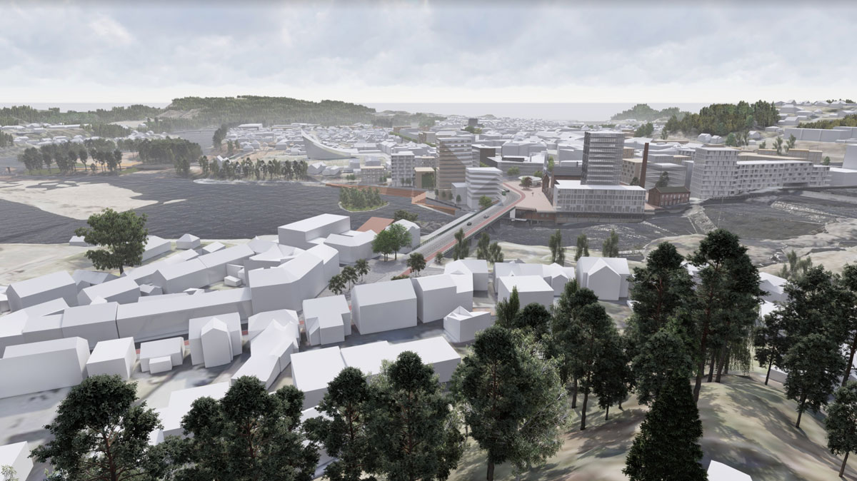 SketchUp city model of Hønefoss viewed in Lumion. Collaboration between Rambøll and DRMA architects.