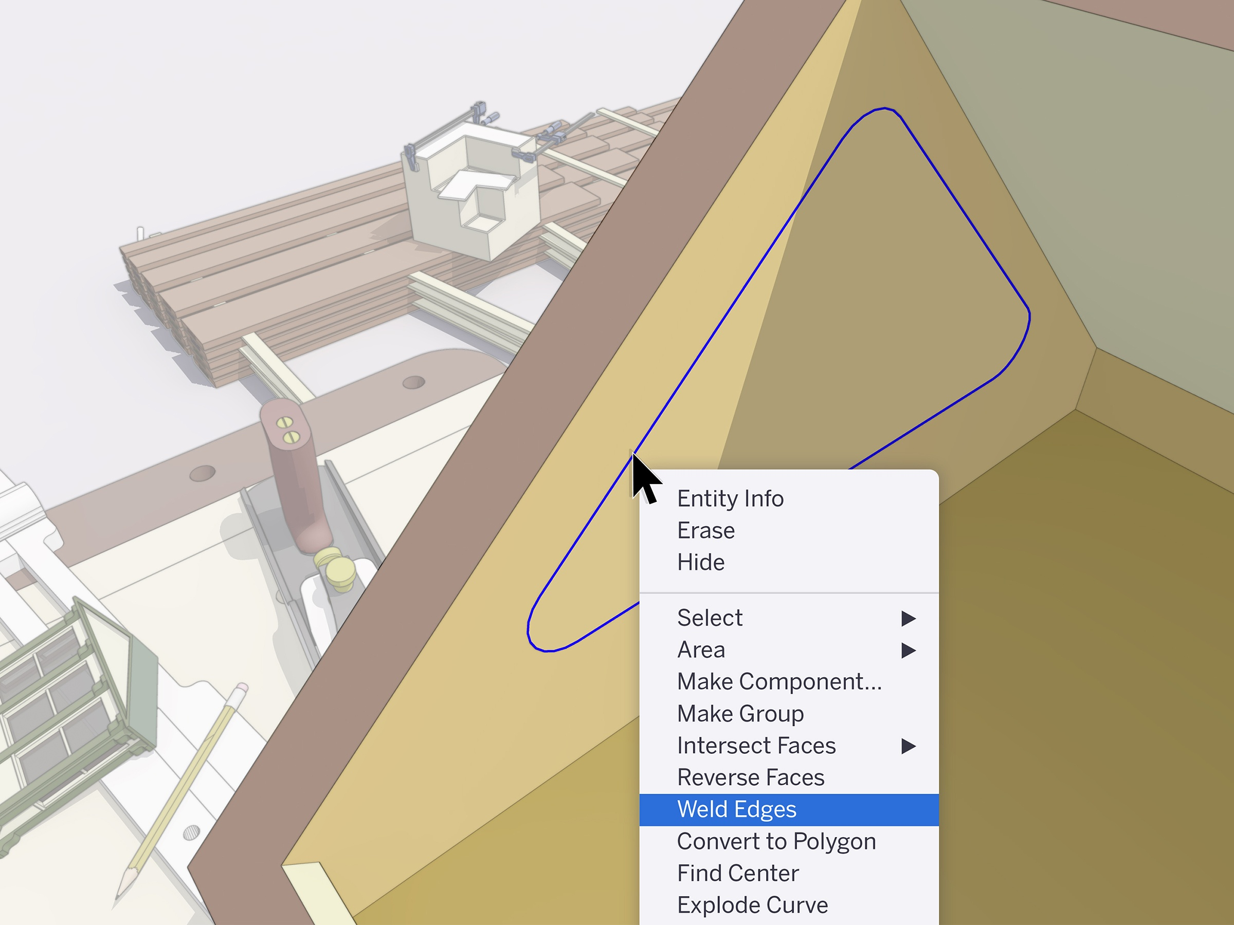 Weld edges in SketchUp