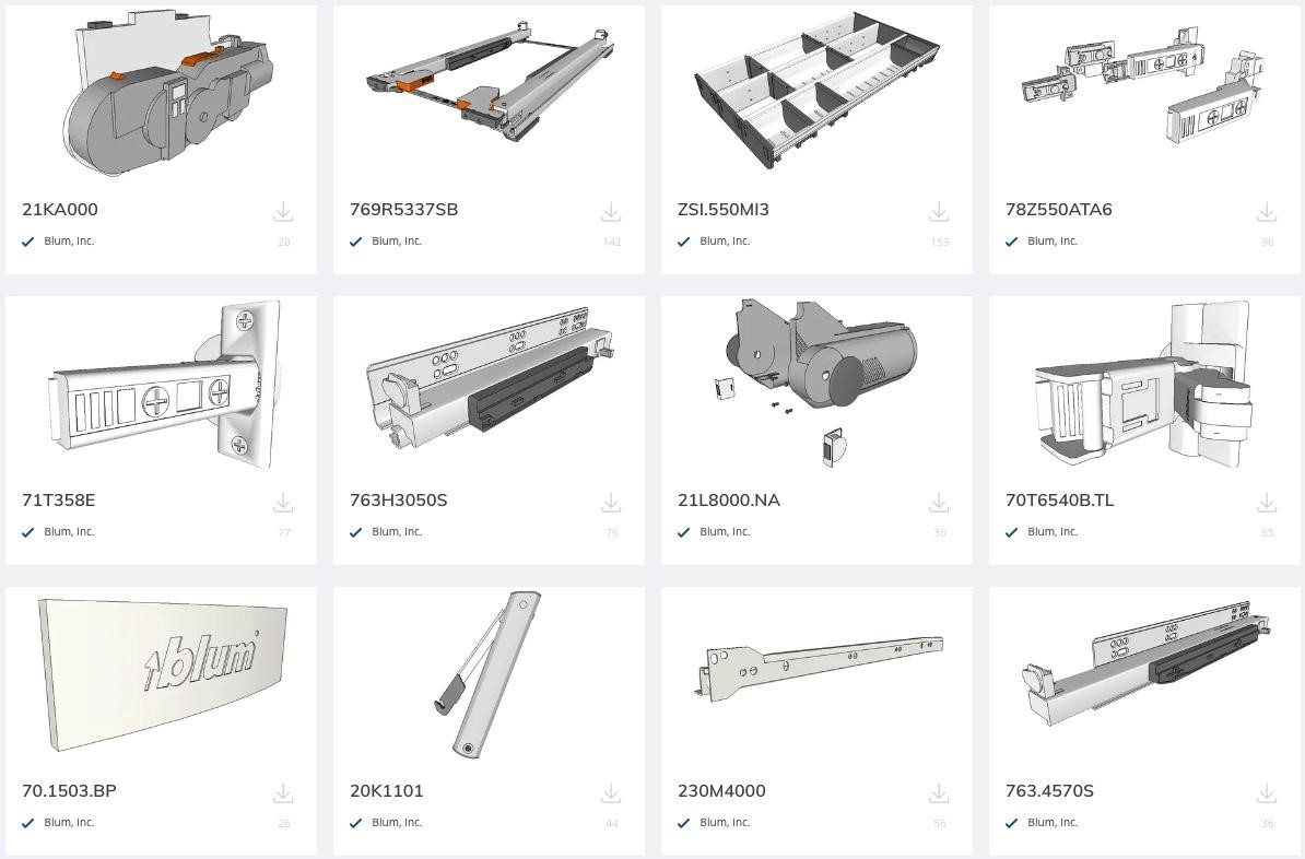 3D Warehouse Blum Top Product Offerings