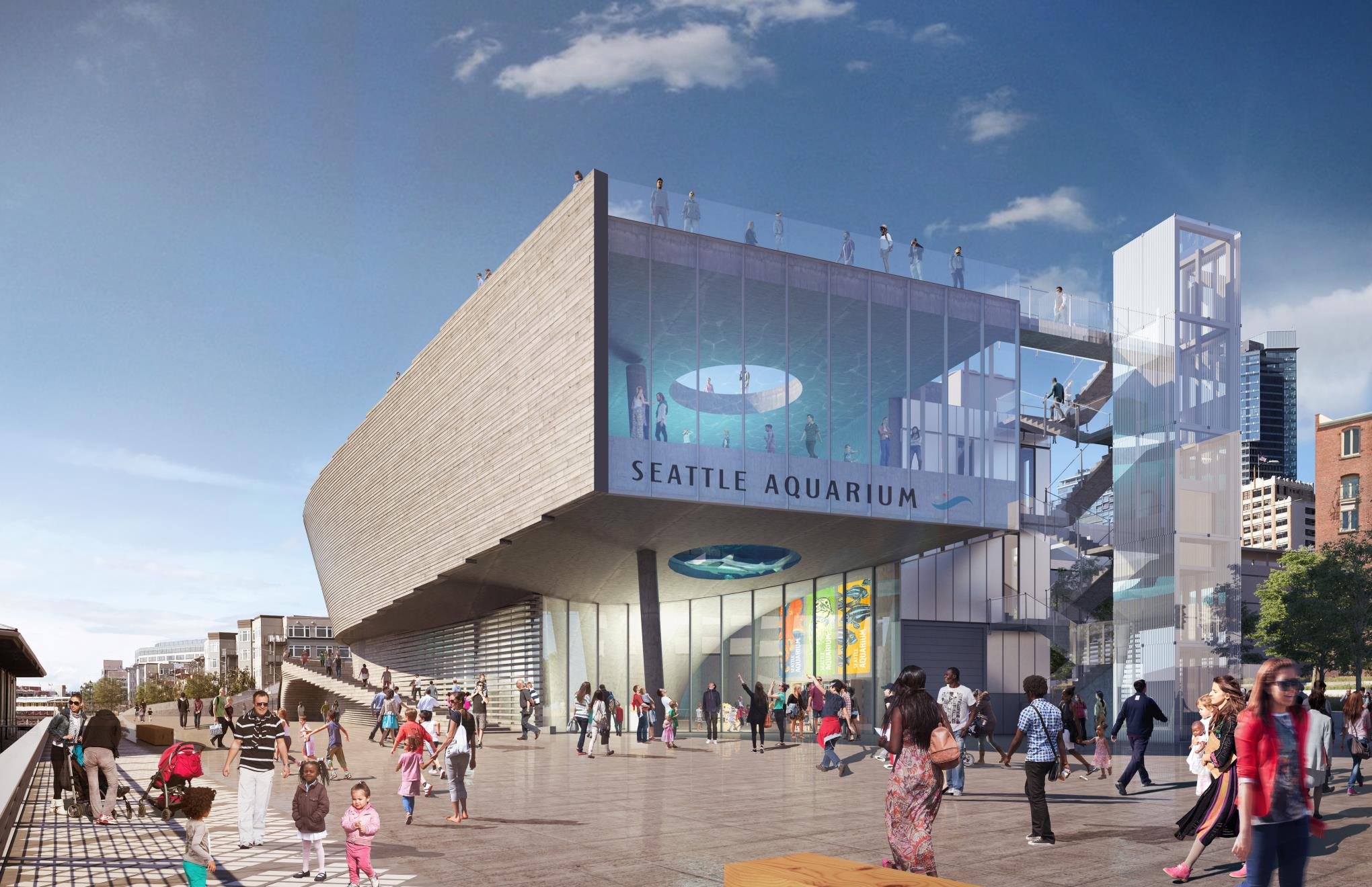 Rendering of Seattle Aquarium project, entrance to the building
