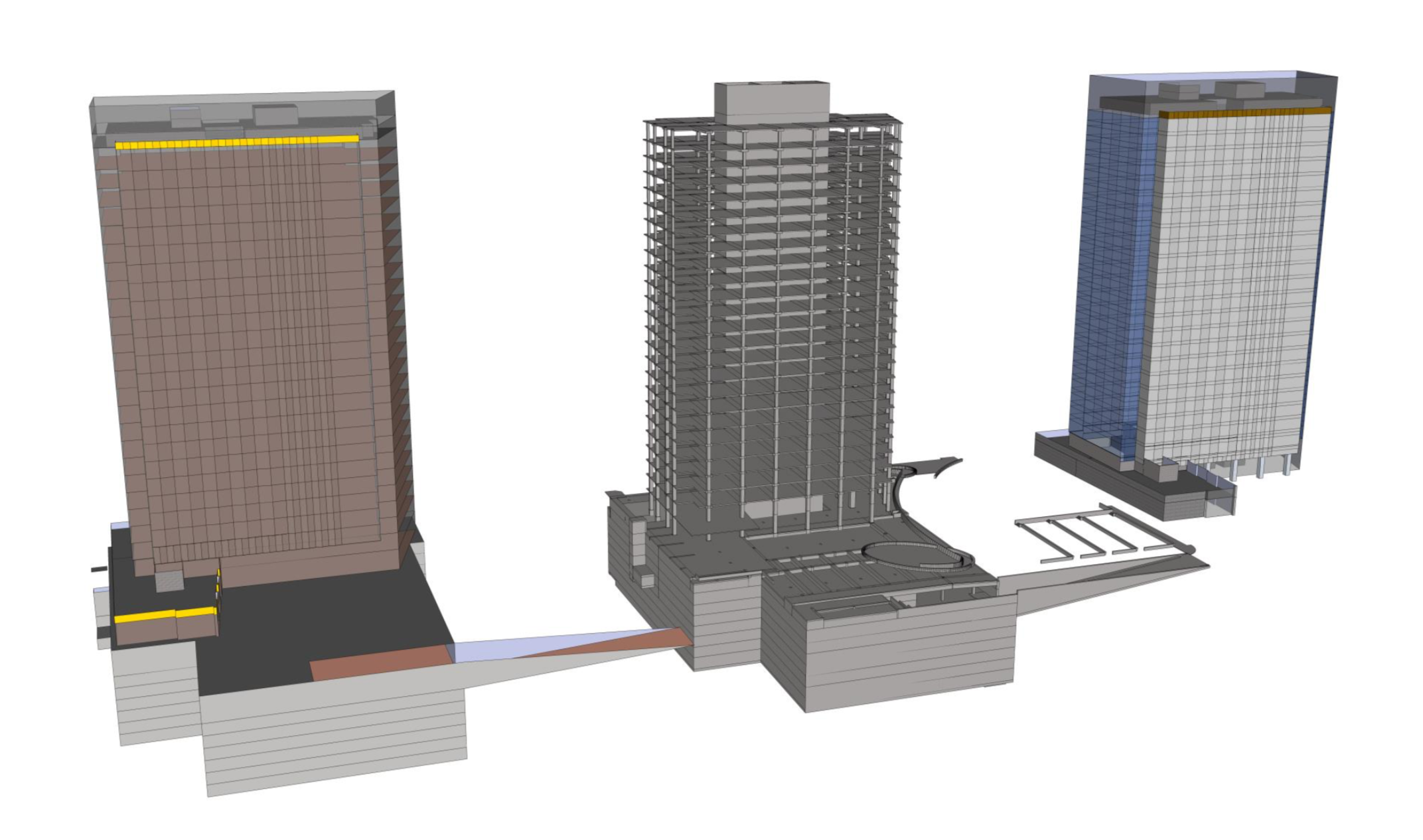 Building models for estimation: Quality Control model in SketchUp, concrete model (ArchiCAD), and exterior envelope model (SketchUp)