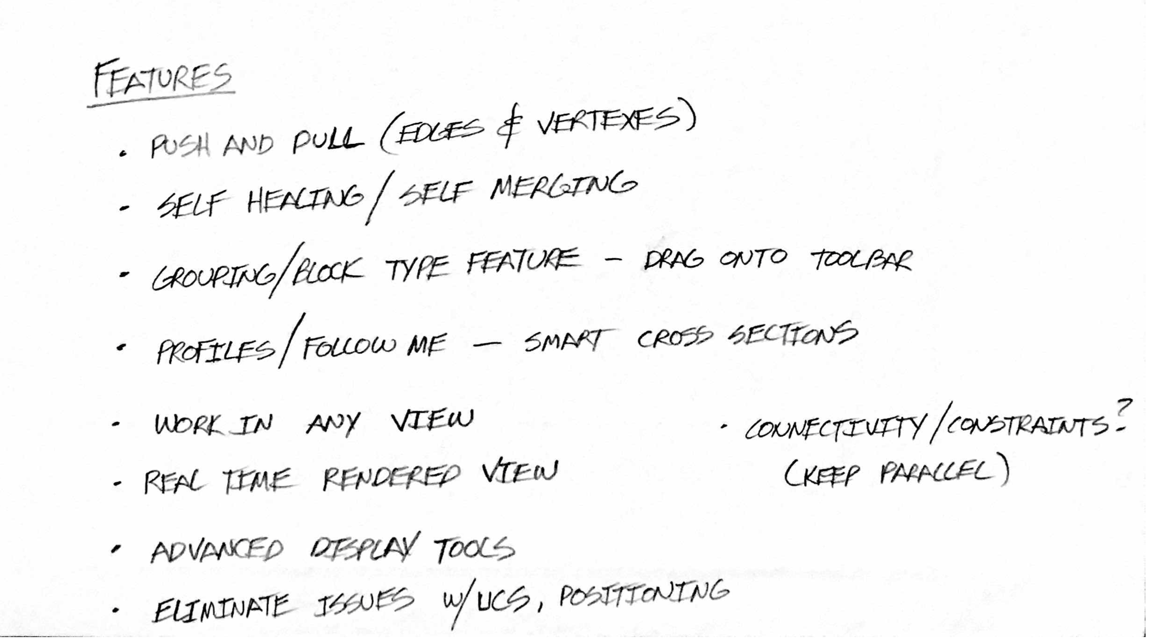 Early notes from Brad Schell for the beginnings of SketchUp