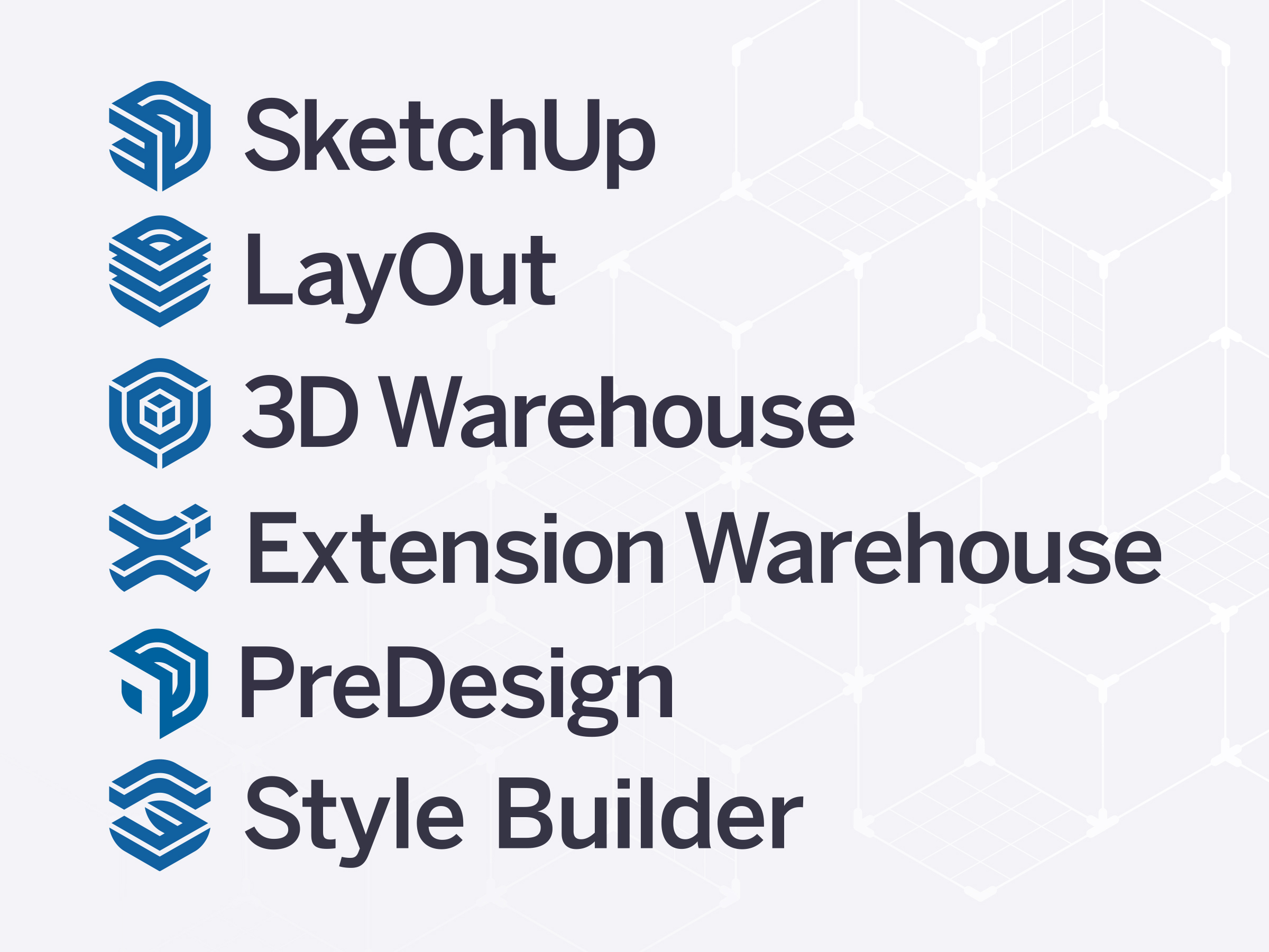 The suite of SketchUp Products Logos