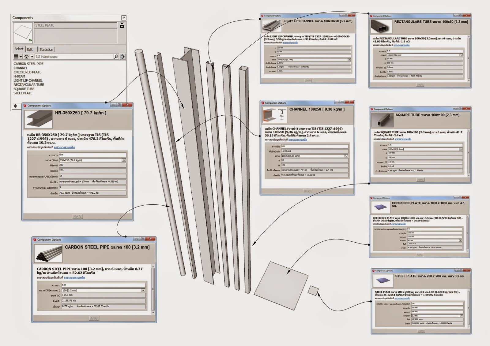 SketchUp components are virtual 3D objects that can include a wide range of specification data.
