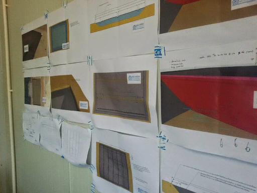 SketchUp drawings mounted for workers to refer to construction sequences