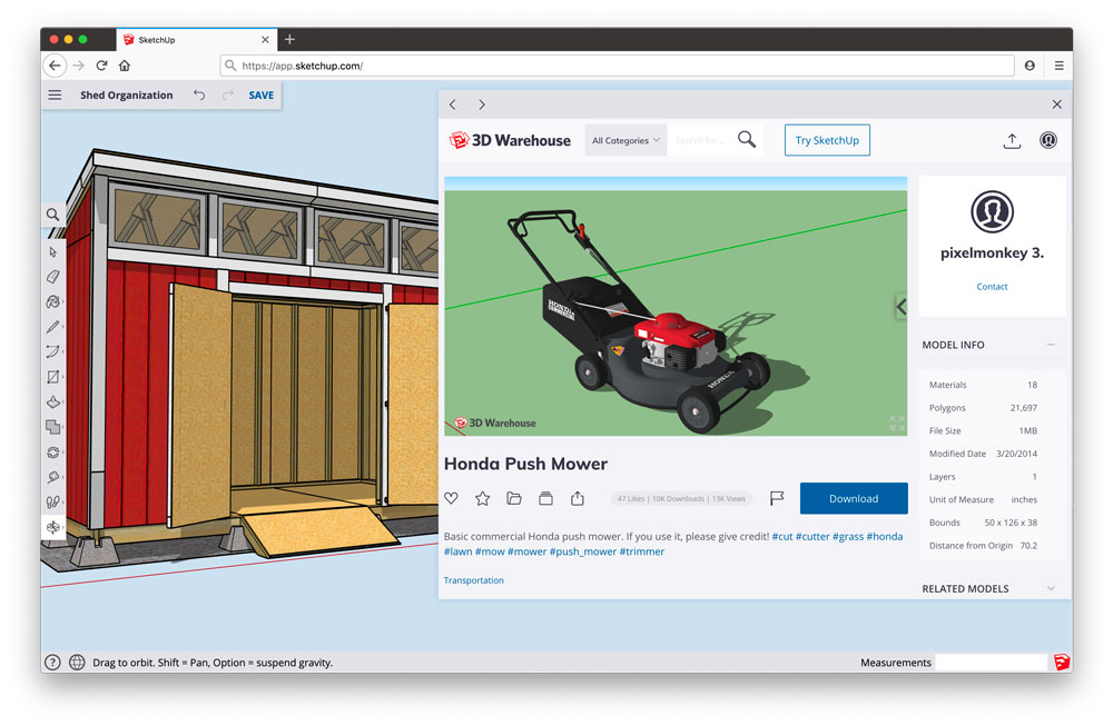 3D Warehouse in SketchUp for Web
