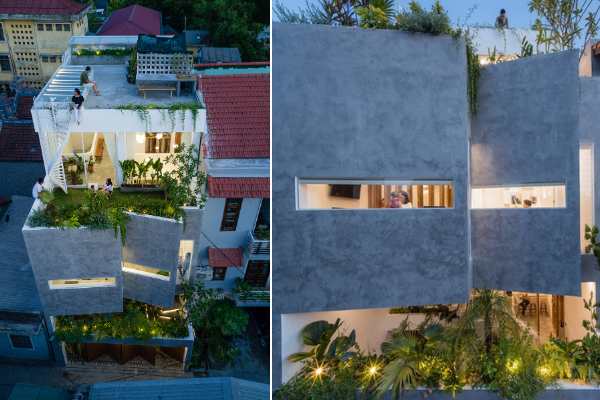 A unique yet simple folding façade contributes to the building's unique shape, making it easy to spot this homestay residence!