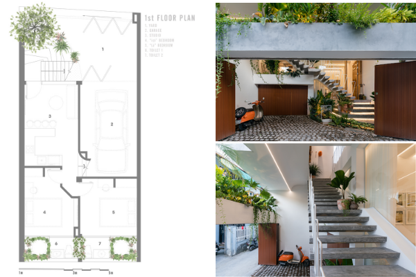 1st-story floorplan, featuring the garage, studio, and a bedroom. Woody elements bring a fusion of traditional and modern style.