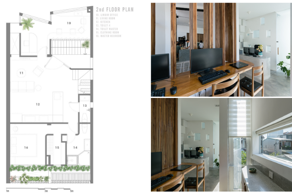 The 2nd story featuring the LimDim Office, living room, kitchen, master bedroom with an ensuite master bathroom.