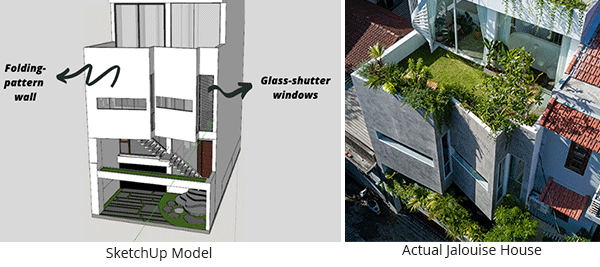 SketchUp model of the Jalouise house, featuring its unique folding-pattern wall and glass-shutter window in comparison to real-life image of Jalouise house.