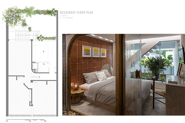 The mezzanine floorplan, features an immersive garden experience in the bedroom, with traditional-like wall tiles harmonized across all bedrooms.