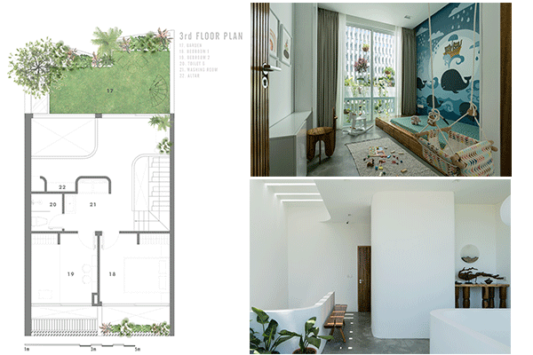 3rd-story floorplan, featuring two bedrooms, a garden, and an altar.