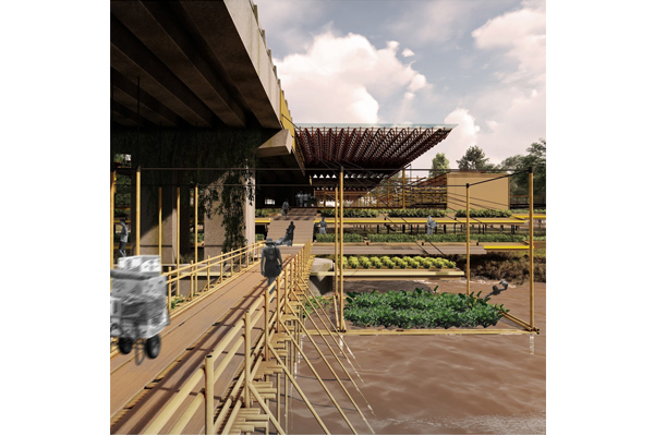 Almond's design advocates the growth of seasonal vegetables, herbs and flowers, to generate income for the community. Agriculture is optimally located in flood-prone areas, thus making the entire structure adaptable to climate changes.