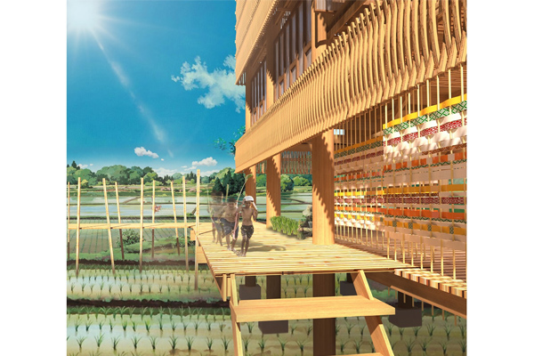 Integrated space for the farmer's rice field and village, with a façade made by traditional weaving. Awarded the 'Best Sustainable Design Asia' in the interior category, for Asia Young Designer Award, comprising 15 countries.
