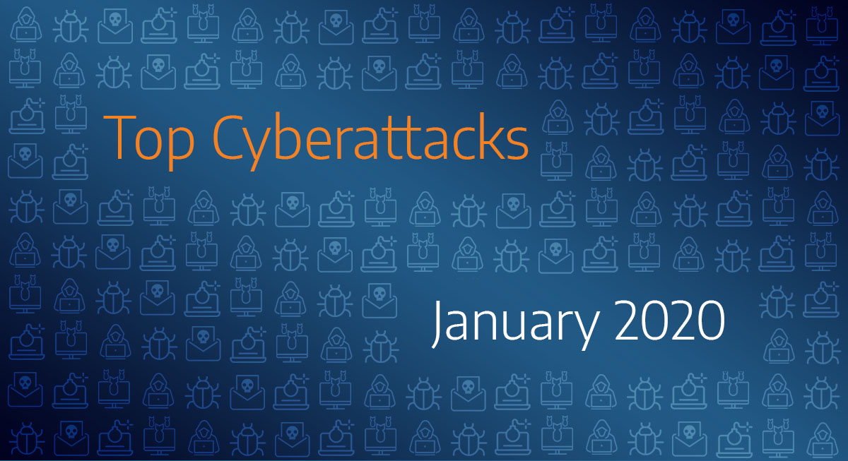 "Blue background with hacker icons ""Top Cyberattacks of 2020"" written in middle of the screen"